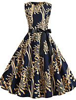 d3163abb3e69a5 preiswerte Bedruckte Kleider-Damen Retro Swing Kleid - Schleife Druck