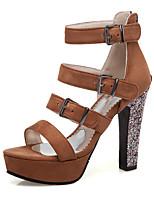 7ba8be578b23 billige Sandaler til damer-Dame Ruskind Forår sommer Vintage   Britisk  Sandaler Kraftige Hæle Spænde