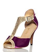 ce1a902a51698 abordables Chaussures de Danse-Femme Chaussures Latines Satin Sandale    Talon Boucle Mince haut talon