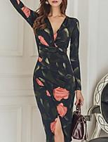 6ccd5a5b4ad77 رخيصةأون فساتين للنساء-فستان نسائي ثوب ضيق أساسي طباعة طول الركبة ورد