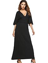 a6c838837ca abordables Vestidos de Mujer-Mujer Corte Swing Vestido Maxi Escote en Pico