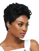 voordelige -Human Hair Capless Pruiken Echt haar Gekruld / Natuurlijk golvend Pixie-kapsel Stijl Dames / Comfortabel / Afro-Amerikaanse pruik Zwart Kort Zonder kap Pruik Dames / Allemaal