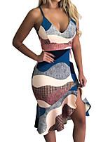 Χαμηλού Κόστους -Γυναικεία Βασικό Κομψό στυλ street Εφαρμοστό Θήκη Φόρεμα - Γεωμετρικό Συνδυασμός Χρωμάτων, Με Βολάν Στάμπα Ως το Γόνατο