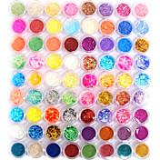 Combinación de 72 Colores de Brillos de Decoración de Arte de Uñas