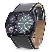 Oulm 男性 軍用腕時計 クォーツ 日本産クォーツ PU バンド ブラック