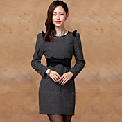 PRENAIRポルカドットボウデコレーションロングスリーブシースドレス