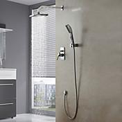 コンテンポラリー シャワーシステム レインシャワー ハンドシャワーは含まれている with  セラミックバルブ 四つ シングルハンドル4つの穴 for  クロム , シャワー水栓