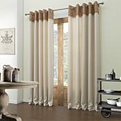 2パネル ウィンドウトリートメント 現代風 , 純色 リビングルーム ポリエステル 材料 遮光カーテンドレープ ホームデコレーション For 窓