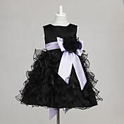 Una línea de vestido de bola princesa longitud de la rodilla vestido de niña de flores - cuello tul joya sin mangas con arco