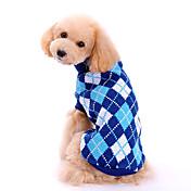 犬用品 セーター 犬用ウェア 冬 春/秋 格子柄 ファッション クラシック ブルー