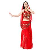 Danza del Vientre Accesorios Mujer Representación Gasa Cuentas Monedas 3 PiezasTop Falda Bufanda Hip y cinta de Danza del vientre no