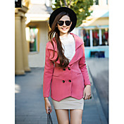 Mujer Un Color Abrigo Manga Larga Invierno Poliéster Rosa