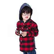CF1992キッズチェック柄長袖Shoodieシャツ(レッド)