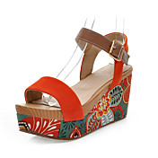 Mujer Zapatos Ante Primavera Verano Plataforma Media plataforma para Vestido Negro Verde Naranja