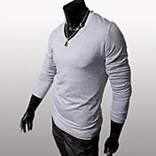 男性用 プレイン カジュアル / スポーツ Tシャツ,長袖ブラック / ブラウン / ホワイト / グレー