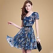 女性のVネック花柄プリント半袖ドレス