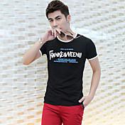 Fhonier Hombres de Negro Floral Print Short Sleeve T-Shirt