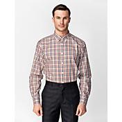 clásico / semi-spread cuello manga larga negro&marrón&rojo&camisa de algodón 100% algodón para trajes