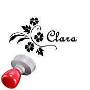 boda 30x40mm personalizado& patrón de flores negocio ovalado grabado fotosensible sello nombre de sello (a menos de 8 letras)