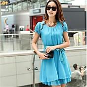 Mujer Sofisticado Vestido - Estampado, Un Color Hasta la Rodilla