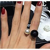 perla anillo coreano viva de las mujeres (tamaño ajustable)