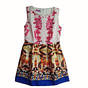 女子ラウンドヴィンテージコントラストカラーノースリーブ花のドレス