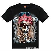 cráneo patrón de cuello redondo de algodón de la camiseta de los hombres romanos