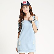 Women's Retro Denim Short Sleeve Party Casual Dress