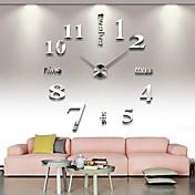 Moderno diy analógico 3d espejo superficie gran número etiqueta de reloj de pared decoración del hogar