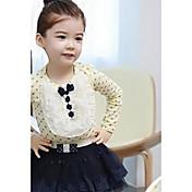 女の子のドットレース長袖の綿のTシャツの韓国語バージョン