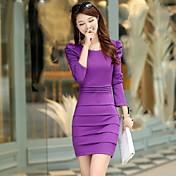女性の丸い襟パフ袖ボディコンドレス(色以上)