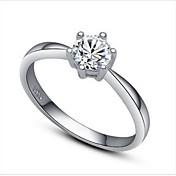 anillo de bodas de plata para mujer con estilo femenino clásico de zirconia cúbica