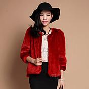 yifulu abrigos de piel de cuello redondo manga larga delgada de la moda temperamento elegancia