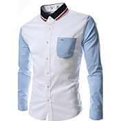 moda colores surtidos Charels de los hombres camisa de manga larga delgado
