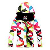 GSOU SNOW 女性用 スキージャケット 防水 保温 防風 耐久性 高通気性 内側ポケット数 取り外し可能なキャップ スキー ウィンタースポーツ ポリエステル100%