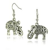 pendientes único hueco de plata tibetana elefante tallado cuelga la moda del vintage