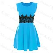 女性のラウンドカラーのコントラストカラーのレースのパッチワークドレス(もっと色)