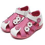 Bebé Chica Zapatos Pelo de Ternero Verano Talón Descubierto Confort Bailarinas Remache Cierre Autoadherente Cinta Adhesiva Flor para