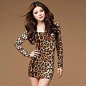 estampados de leopardo de las mujeres aamikare vestido tubo de manga larga