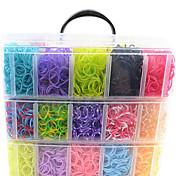 12000pcsカラフルなDIY虹色織機スタイルシリコーンバンドブレスレット12000pcsbands、12S-クリップ、1織機、1hook + 1BOX