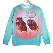 Men's Cotton Long Sleeve 3D Owl Printed Autumn Hip Pop Sweatshirts