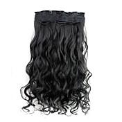 120g 24 pulgadas clip largo rizado sintético negro en extensiones de cabello con 5 clips