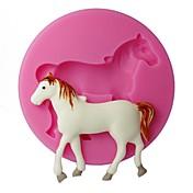 4-Cシリコーンカップケーキ型の馬のエンボスモールドカップケーキの装飾の色ピンク