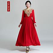 yalun®女性のヴィンテージカジュアルスリム長袖のドレス
