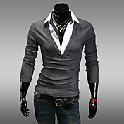 男性用 長袖 ポロシャツ , コットン混 カジュアル/オフィス/スポーツ プレイン