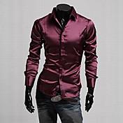 男性用 プレイン カジュアル / オフィス / フォーマル / プラスサイズ シャツ,長袖 シルク / コットン混 / 伸縮素材 / サテン ブラック / パープル / レッド