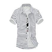男性用 チェック カジュアル シャツ,半袖 コットン ブルー / ホワイト