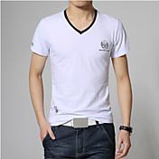 男性用 プリント カジュアル Tシャツ,半袖 コットン,ブルー / レッド / ホワイト