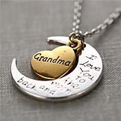 ファッション合金の心と月のおばあちゃん、私は月とバックのネックレスにあなたを愛し