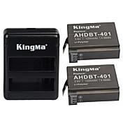 kingma®2PCS rechargebale ahdbt-401バッテリーの1200mAh +のGoProヒーロー4黒サイラーカメラのバッテリーのためのデュアルUSB充電器